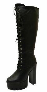 LADIES BLACK KNEE-HIGH ZIP-UP CHUNKY EXOTIC PLATFORM TALL BOOTS SHOES SIZES 4-9