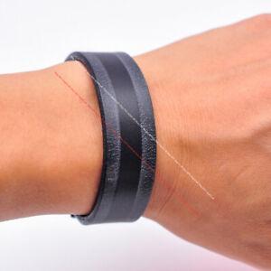 Quality Handmade Black Surfer Veg Tan Leather Bracelet Wristband Cuff Bangle