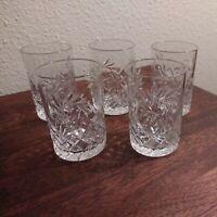 Set of 5 Polished Cross Cut Crystal Shot Sherry Glasses 4 oz  -  Glassware EUC