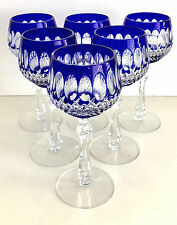 """BOHEMIAN COBALT BLUE CASED CUT TO CLEAR CRYSTAL 7 1/2"""" WINE GOBLETS  SET OF 6"""