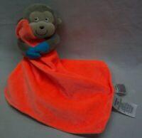 Carter's MONKEY W/ BRIGHT ORANGE BABY BLANKET LOVEY Plush STUFFED ANIMAL Toy
