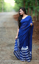 Bollywood Designer Party Wear Blue Color Georgette Fabric Thread Work  Saree