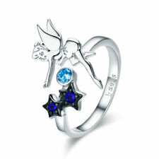 Tiny Angel Fairy 925 Sterling Silver Ring Platinum Plated Adjustable Open Band