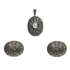 Rhodium Plated 925 Sterling Silver Women Victorian Jewelry Earring Pendant Set