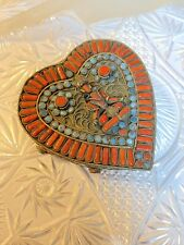 Tibetan Silver Heart Box Turquoise Coral Buddha Chinese Import Antique