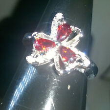 COSTUME RUBY SILVER RING SIZE R 56