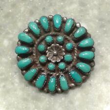 Southwest Native American Zuni Turquoise Petit Point Pendant/Pin