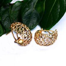 18k Yellow Gold Estate Open Diamond Cut Omega Back Earrings