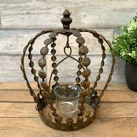 Vintage Metal Home Indoor Crown Tea Light Candle Votive Holder Display Lantern