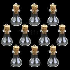 10x Mini Wishing Glass Bottles Cork Potion Vials Charms Necklace Pendant