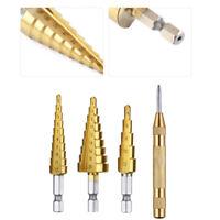 3pcs punte per trapano a gradino in titanio HSS e 1 pz Punzone 3-12/4-12/4-20mm