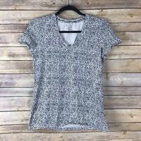 Lord Taylor Womens Top Cotton Stretch Knit Tee V Neck Slim Fit Polka Dot Size M