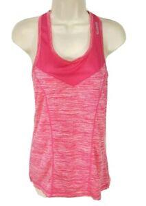 Reebok Pink Plaid Gym Tank Top Women Size XS Stretch