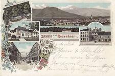 AK Rosenheim Ansicht Loretto-Allee Kapelle Bahnhofstr Mitterthor Litho gel 1898