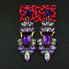 Women's Purple Crystal Teardrop Betsey Johnson Dangle Earrings Jewelry