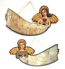 Christmas Angel Signs Cross and Heart Set of 2 for Silvestri by Teresa Kogut