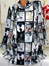 Leins Designer Kleid Tunika Bluse Shirt Lagenlook Longshirt Comic Bunt XXL 46 48