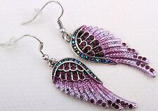 Angel wings dangle earrings EC23 women antique bling jewelry gifts silver purple