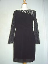 Sugarhill Boutique dress 12 GC black/silvery lace sleeves, Christmas/New Year