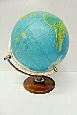 VINTAGE WORLD SCAN GLOBE WOODEN BASE METAL GIMBLE MAP ATLAS DENMARK MAGNIFIER