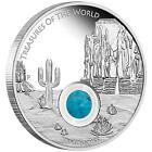2015 Australia $1 Treasures of the World 1oz Silver Proof Locket Coin Turquoise