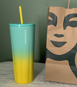 New 2021 Starbucks Summer Collection Yellow & Blue Ombre SS Puffy Tumbler