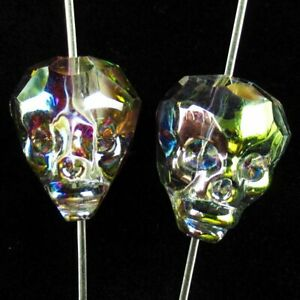 2Pcs 21x19x16mm Faceted Multicolor Titanium crystal Skull Pendant Bead HASJ652