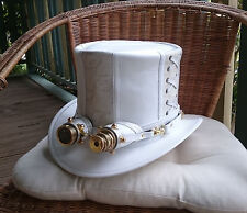 AUSTRALIAN HAND CRAFTED WHITE LEATHER / SNAKE PRINT LEATHER STEAMPUNK TOP HAT