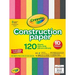 "CRAYOLA Construction Paper. 10 Different colors. 120 Sheets, 9"" x 12"" (22x30 cm)"
