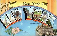 Greetings From New York City Large Letter Linen 1951 Postcard