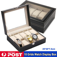 10 Grids Leather Watch Display Case Jewelry Collection Storage Holder Box Gift