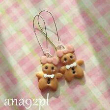 Handmade clay jewelry fimo earrings long cookie earrings Christmas stocking bow