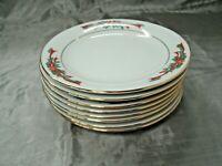 "Fairfield POINSETTIA & RIBBONS Set of 8-7 3/8"" Salad Plates Christmas Holiday ec"