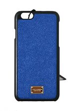 NEW $160 DOLCE & GABBANA Phone Case Blue Shiny Leather Gold Logo Cover iPhone6