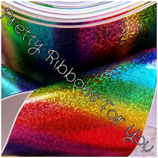"3"" RAINBOW HOLOGRAM ribbon printed on WHITE grosgrain ribbon 1 yard listing"
