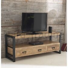 Harbour Indian Reclaimed Wood And Metal Furniture Large Television Cabinet Unit