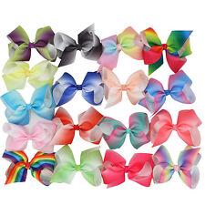 5pcs 4'' Grosgrain Ribbon Hair Bows with Alligator Clips Boutique Rainbows Clip