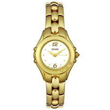 SEIKO DRESS ANALOG WHITE DIAL 3 DIAMONDS GOLD-TONE S.ST.WOMEN'S WATCH SXGN14 NEW