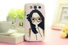 Cute 3D Glasses Girl Hard Case Cover For Samsung Galaxy SIII S3