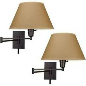 "Kira Home Cambridge 13"" Swing Arm Wall Lamp Plug in/Wall Mount Golden Bronze 2PK"