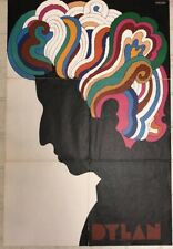 """Bob Dylan Poster by Milton Glaser 22"""" X 33"""" From Greatest Hits Lp"""