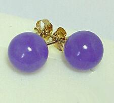Pair Beautiful 10mm Purple Jade Beads 18KGP Stud Earrings