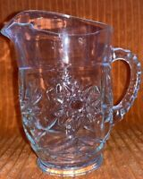 "Vintage Small Sunshine Starburst Clear Glass Pitcher 6"""