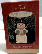 "1997 Hallmark Keepsake Ornament ""Porcelain Hinged Box"" Snowman -NEW-MINT"