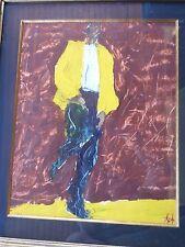Tableau-Peinture-huile/Gouache Originale-Jazzman-école japonaise-Painting-cadre