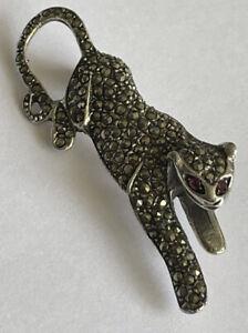 Vintage 925 Silver Marcasite & Ruby Panther Jaguar Leopard Cat Pin Brooch 8 Gram
