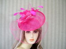 Hot PiNk Sinamay Fascinator, Belmont Hat, Wedding Hat, Tea Party, Ascot, Tea Hat