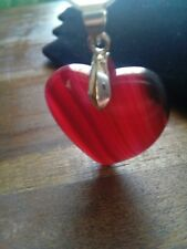 stunning  red magenta puffy heart branded agate..  necklace pendant