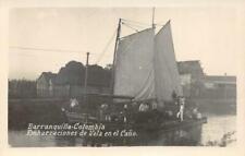 RPPC Barranquilla-Colombia Embarcaciones de Vela en el Caño Vintage Postcard