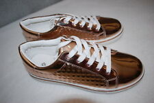 Womens Shoes SHINY COPPER METALLIC FASHION SNEAKERS Textured Stud Sides SIZE 8